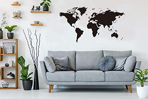 BeyondTreasure - Adesivo da parete con mappa del mondo del mondo, disponibile in diverse misure, per camera da letto, soggiorno, armadio, 44 x 77 cm