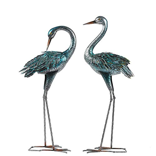 Kicust Garden Crane Statue for Outdoor, Blue Heron Decoy Garden Sculptures and Statues, Metal Bird Yard Art for Lawn Patio Decor, Set of 2