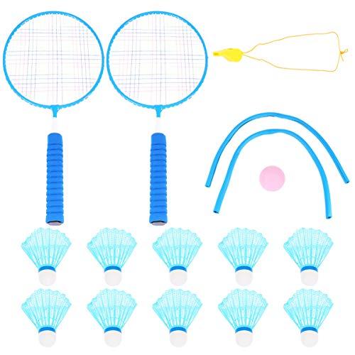 BESPORTBLE Conjunto de Bádminton para Niños Raquetas de Bádminton Pelota de Ping-Pong para Tenis Juvenil Deporte Jugar con Mochila de Almacenamiento (Azul)