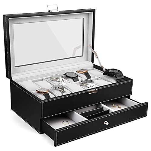Boîte à Montre Double, Couche, 12 Montres et Miroir, Présentoir à Montre et Bijoux, Dimensions: 33 x 19.5 x 13.2 cm, Matériau: Velours, MDF, Cuir PU
