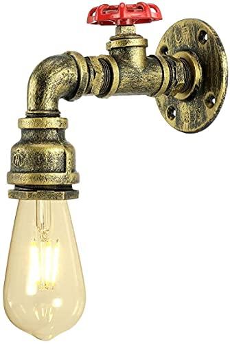 1 Piezas Lámpara de Pared Tubería de Agua Aplique de Pared Industrial Retro Color Bronce Luz de Pared con Decoración de la Válvula del Grifo Luces de Pared para Restaurante Bar Cocina Dormitorio