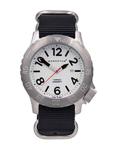 Momentum Men's Torpedo Dive Watch | 200M/600FT Water Resistant | Stainless Steel Case (Mineral Crystal, Luminous | Black Web NATO)