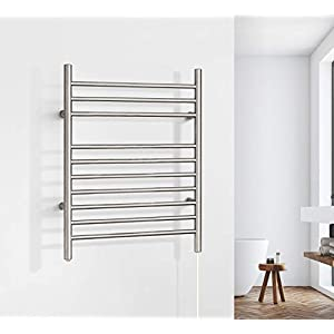 WarmlyYours 10-Bar Infinity Towel Warmer, Plug-in, Stainless Steel