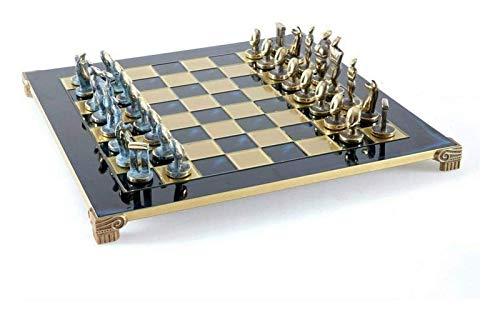 WYFX Juego de ajedrez Antiguo artístico Piezas de ajedrez de Bronce y Beta; LUE con Tablero Azul 44 cm 17'en Caja de Madera