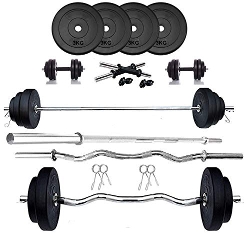 Hexa Fitness PVC 12 Kg (3 kg X 4) Combo Set for Home Gym Equipment Kit with Gym Rods (Curl+Plain) +...