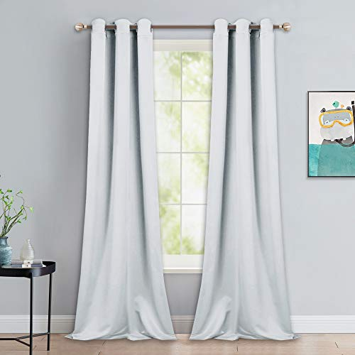 NICETOWN Room Darkening Long Curtain Set - Window Treatment Thermal Insulated Grommet Long Drapes for Living Room (2 Panels, 42 by 90, Greyish White)
