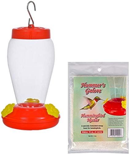 Plastic Hanging Hummingbird Feeder Set With Necter 4 Ounce
