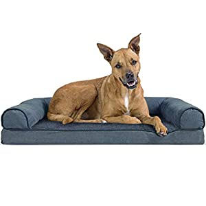 Furhaven Pet Dog Bed – Orthopedic Faux Fleece and Chenille Soft Woven Traditional Sofa-Style Living Room Couch Pet Bed with Removable Cover for Dogs and Cats, Orion Blue, Large