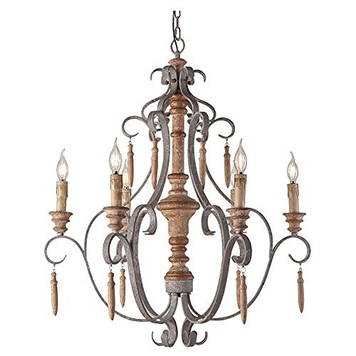 Retro stile industriale lampadario in legno massello vecchio stile soggiorno camera da letto decorazione bar decorazione candela candela Retro color
