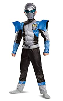Disguise Silver Ranger Outfit for Kids Beast Morphers Power Ranger Costume Muscle Padded Character Jumpsuit Child Size Small  4-6  Silver & Blue  104769L