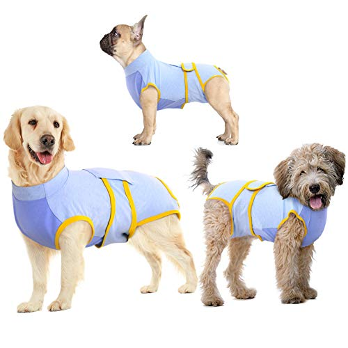 IDOMIK Recovery Suit for Dogs After Surgery, Recovery Shirt for Male Female Neutered Dog Cats, Cone E-Collar Alternative Abdominal Wounds Spay Onesie, Anti-Licking Pet Surgical Recovery Snuggly Suit
