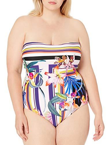 Trina Turk Women's Bandeau One Piece Swimsuit, Multi//Treasure Cove, 14