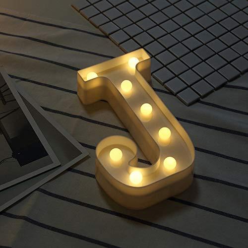 Letras Luminosas Decorativas con Luces LED, XVZ Luces LED de letras y números con pilaspara decoración de cumpleaños, decoración romántica de bodas - Letra J