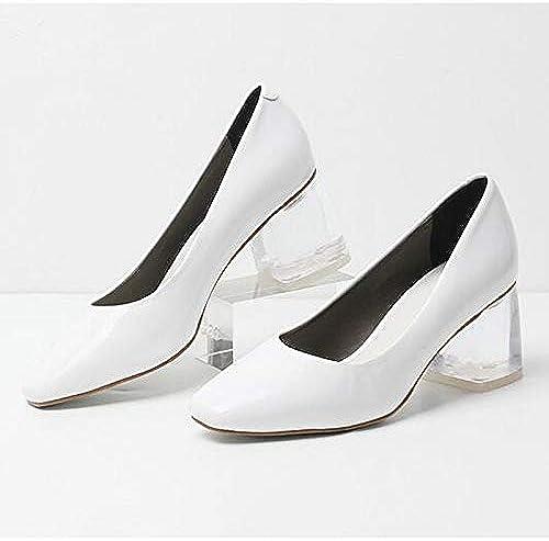 ZHZNVX Chaussures Femme en Cuir Verni à Talons Hauts à Talons Chunky Heel blanc noir Almond