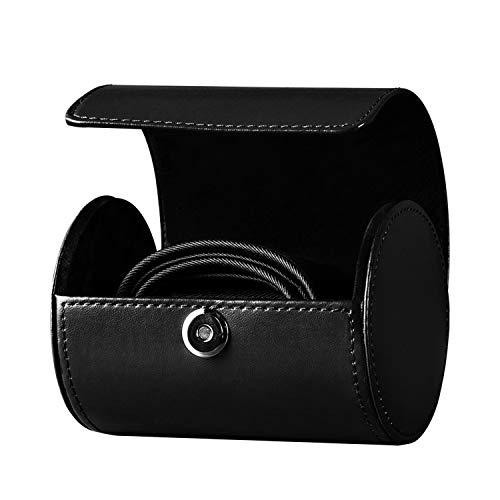 SANQIANWAN Men 's Tie Roll Necktie Roll Box Travel Cylinder Leather Tie Box Men's Business Gift Necktie Anti-Wrinkle Storage Case Portable Tie Organizer for Home or Travel (Black)