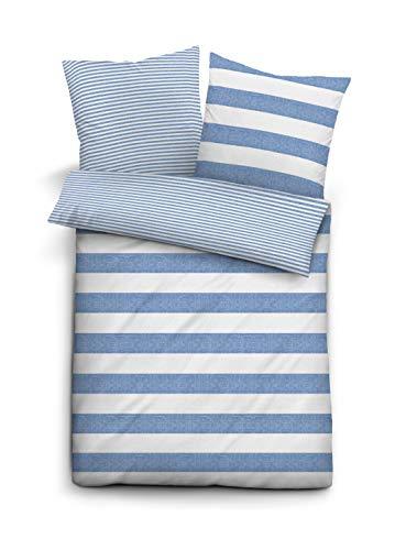 biberna 0244323 Bettwäsche Garnitur mit Kopfkissenbezug Melange-Soft-Seersucker 1x 155x220 cm + 1x 80x80 cm blau