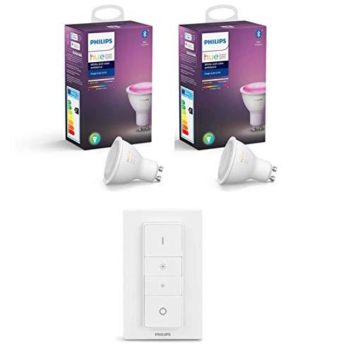 Philips Hue White and Color Ambiance - Pack de 2 Bombillas LED GU10, 6.5 W, mando incluido - bombillas que cambian de color (Compatible con Bluetooth, Amazon Alexa, Apple HomeKit y Google Assistant)