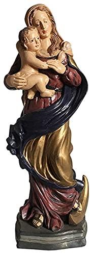 WQQLQX Estatuilla Christian Virgin Mary Statue Sculpture Figura Pintura de la Resina Estatuilla Ornamento religioso Arte Decoración de la decoración Regalo de colección Recuerdo Estatua