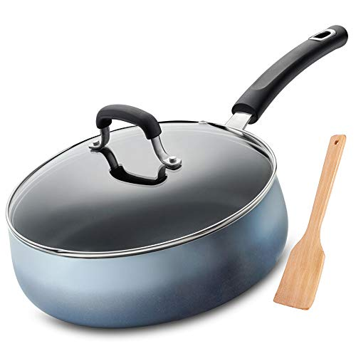 Rghfn 26cm Enamel Pan for het Koken Fire Aluminium Koekenpan Non-stick Pan Locking Heat Saving Bron Creative Drum Body Oil-saving Multifunctionele Pot (10 Inch)