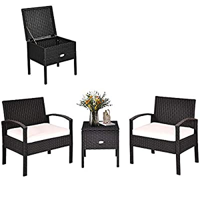 Tangkula 3 PCS Patio Wicker Conversation Set, Outdoor Rattan Furniture with Washable Thick Cushion & Coffee Table w/Storage Space, Patio Furniture Set for Backyard Porch Garden Poolside (Black)