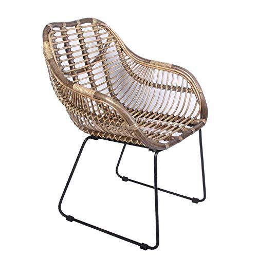 Casa Moro Sillón Madrid de ratán con reposabrazos, silla de mimbre natural tejida a mano, silla de cesta de calidad, silla de estilo vintage, silla de cocina, jardín, terraza, comedor | IDSN56