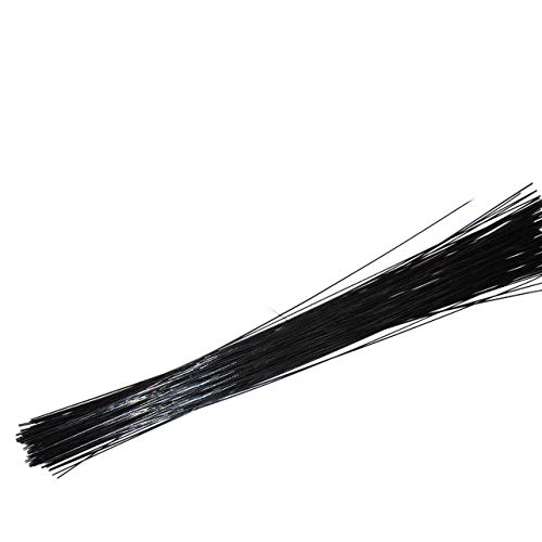Conjugal Bliss 100PCS Floral Stem Wire Florist Stem Paddle Floral Wire Flower Paper Wrapped Wire for Flowers Packaging Flower Shop Decoration Iron Wire (0.02 inches, Black)