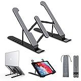 Soporte Portátil Mesa 6 Ángulos Ajustables, Plástico ABS + Silicona + aleación de Aluminio, Soporte Ordenador Ventilado Plegable, Laptop Stand, Ligero Soporte Mesa para Macbook DELL XPS, HP, PC