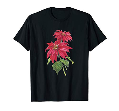Vintage Blooming Poinsettia Plant for the Christmas Season T-Shirt
