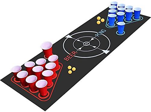 Faburo Beer Pong Kit, juego de beber, juego completo Beer Pong, alfombra de juego Beer-Pong, 22 tazas, 6 pelotas, para juego de noche y juego de barbacoa para adultos