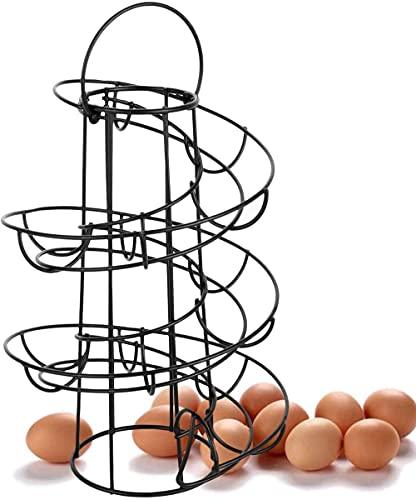 Huevo soporte de metal en espiral cesta del huevo en mal estado de huevo dispensador espiral diseño de huevo de huevo soporte rack Decoración para la cocina de la vendimia espiral cesta del huevo