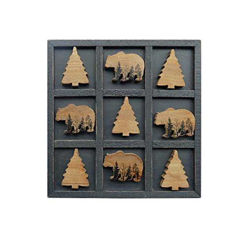 NIKKY HOME Cute Bear Decorative Wooden Board Travel Game Tic Tac Toe for Fun