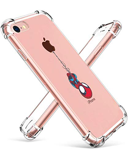"Logee TPU Spider Funny Cute Cartoon Clear Case for iPhone 8/iPhone 7 4.7"",Fun Kawaii Animal Soft Protective Cover,Ultra-Thin Shockproof Creative Character Cases for Kids Teens Girls Boys (iPhone7/8)"