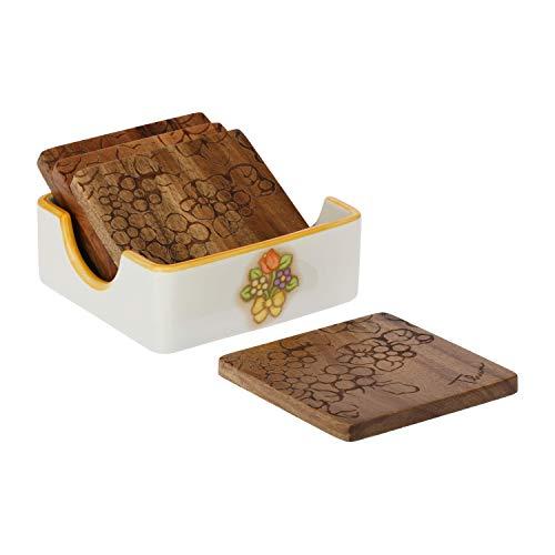 THUN ® - Set 4 Sottobicchieri quadrati - Legno con decorazione incisa - con porta Sottobicchieri - Linea Country