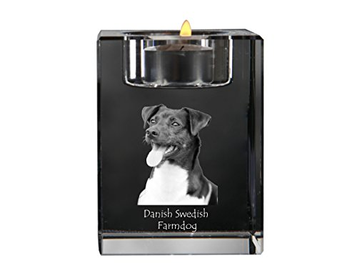 ArtDog Ltd. Dänisch Schwedisch Hofhund, Kristallkerzenhalter, Kerzenhalter mit Hund, andenken, Limitierte Edition