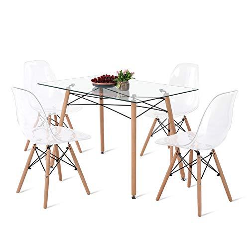 DORAFAIR Mesa Rectangular de Cristal Templado y 4 sillas, Juego de sillas de Comedor Moderna Nórdica Patas de Madera