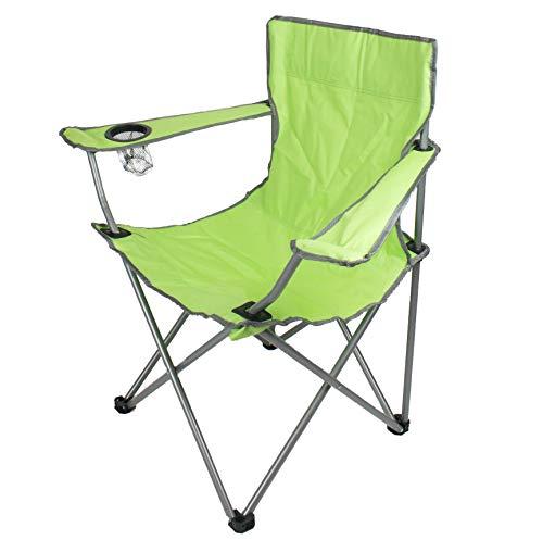 H HANSEL HOME Silla Camping Plegable de Acero con Posavasos para Interior o Exterior 50 x 50 x 80 CM - Color Verde