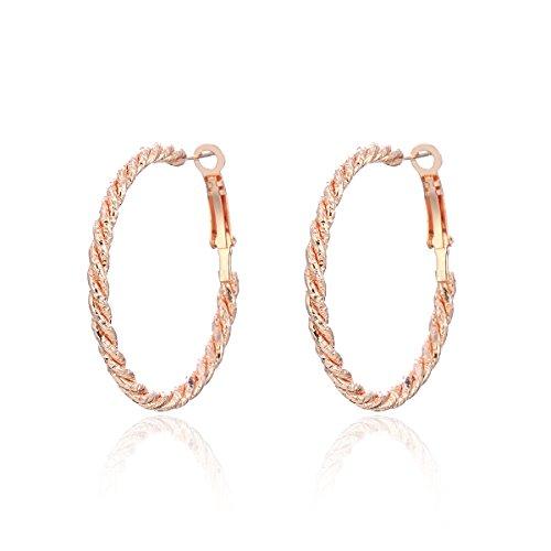 Orecchino a cerchio da donna, oro o argento, orecchini pendenti, in acciaio inox, con cristalli CZ e Acciaio inossidabile, colore: Oro rosa, cod. EH-0563