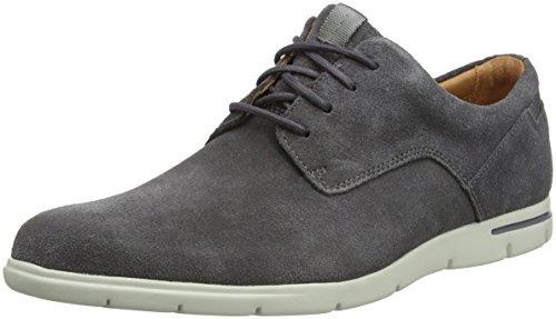 Clarks Vennor Walk, Zapatos de Cordones Derby para Hombre, Gris (Grey Suede-), 44 EU