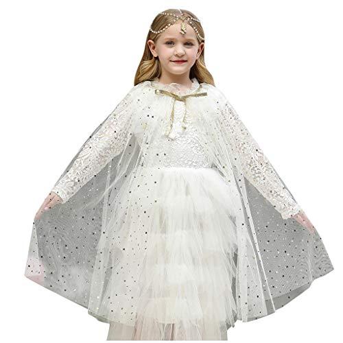 Lazzboy Kleinkind Baby Mädchen Tüll Cape Kostüm Weihnachten Schal Cosplay Outfit Halloween Kinder Prinzessin Umhang Pailletten Fee Für Karneval Fasching Party(Weiß,L)