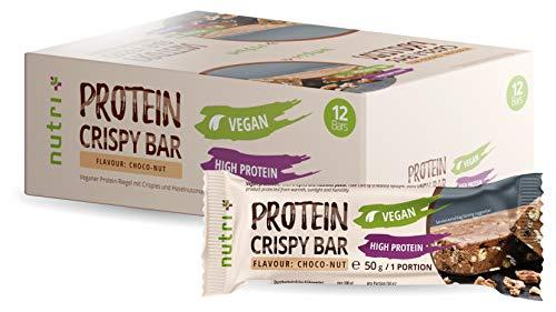 High Protein Crispy Bar Box - 12 Proteinriegel Vegan mit Reisprotein - ohne Süßstoff - Riegel Geschmack Schoko Nuss - 13,8 g Eiweiß - veganer Eiweißriegel Schokolade Haselnuss