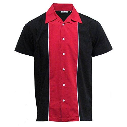 Relco - Herren Hemd kurzärmelig - Retro/Bowling-Stil - Rot/Schwarz - M