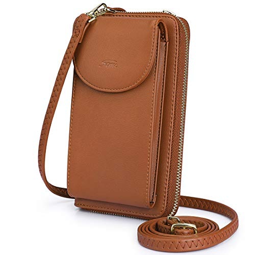 S-ZONE Crossbody Phone Bag for Women PU Leather RFID Blocking Small Cellphone Wallet Pouch Purse (Brown RFID Blocking)