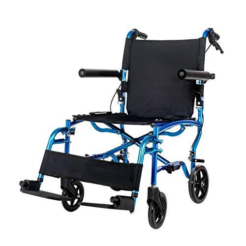 silla de ruedas pequeña de Aluminio Plegable Ligera con Freno de Mano...