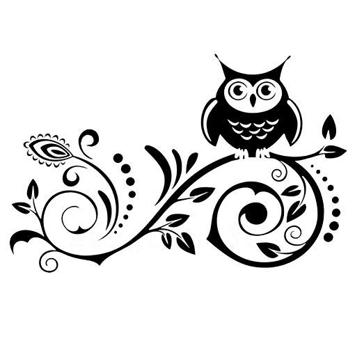WBXZY Car sticker 20X12.7CM new hot vine flower owl funny vinyl car sticker and decal black car sticker
