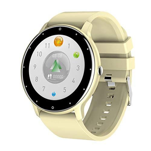 UIEMMY IP67 Reloj Inteligente a Prueba de Agua Hombre Deporte Smartwatch Mujer Pantalla táctil Completa Relojes Bluetooth Monitor de frecuencia cardíaca Reloj, Amarillo