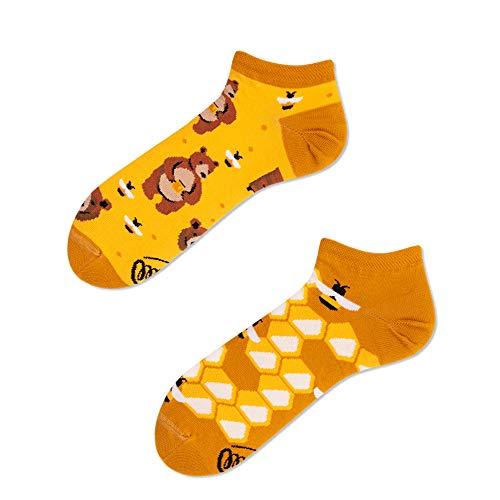 Verrückte Sneaker Socken - Fun Socks - Damen - Honey Bear - Honig Bär (35-38)