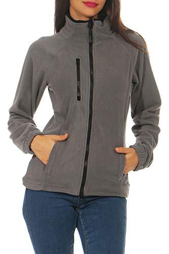 Happy Clothing Damen Fleecejacke Microfleece Outdoor-Jacke ohne Kapuze mit Kragen Dunkelblau Schwarz S M L, Größe:L, Farbe:Anthrazit