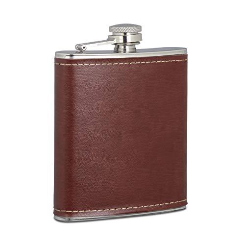 Relaxdays Flachmann 200ml, Taschenflasche aus Edelstahl mit Kunstleder Hülle, kleiner Flachmann für Unterwegs, braun