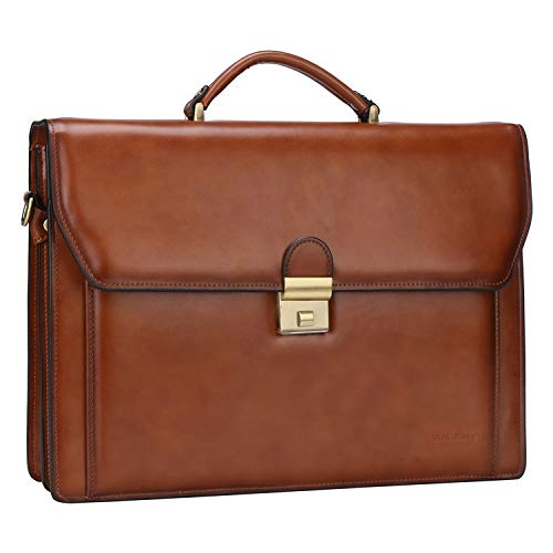 Banuce Vintage Leather Briefcase for Men 14 Inch Laptop Bag Messenger Lock Handbags Lawyer Attache Case (Used-Very Good)