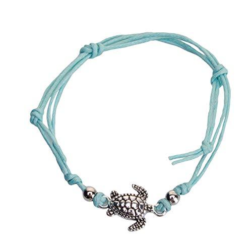 ZSDN Simple Turtle Anklet Cord Ankle Bracelet Beach Sandal Barefoot Anklet Bracelet Foot Jewelry for Women Girls, Blue
